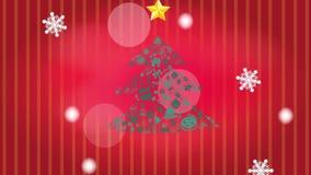圣诞树与星和白色冬天落雪的雪花和金黄手写d的装饰品象的动画例证 向量例证