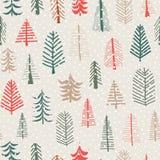 圣诞树传染媒介无缝的样式重复瓦片 绿色,棕色,红色乱画树和雪花 斯堪的纳维亚圣诞节 向量例证