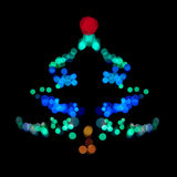 圣诞树做ââof bokeh光 免版税库存图片