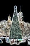 圣诞树光亮的剪影仿效天 免版税库存图片