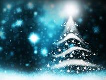 圣诞树光从星背景蓝色雪圣诞节背景例证形成了 库存图片