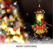 圣诞树光背景 免版税库存图片