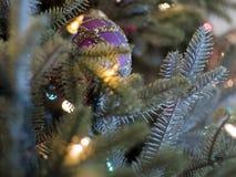 圣诞树典雅的紫色装饰品 库存照片
