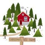 圣诞树农厂传染媒介例证 免版税库存图片