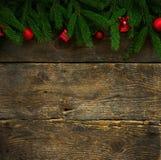 圣诞树分支与锥体和圣诞节装饰  免版税库存图片