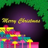 圣诞树分支和礼物盒 Minimalistic设计圣诞卡 也corel凹道例证向量 库存例证