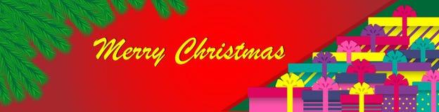 圣诞树分支和礼物盒 Minimalistic设计圣诞节横幅 也corel凹道例证向量 向量例证