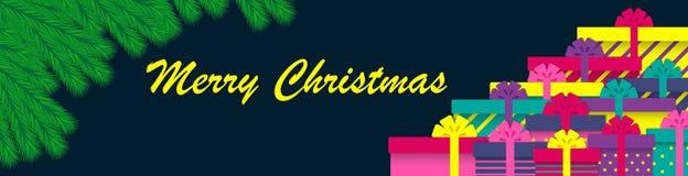 圣诞树分支和礼物盒 Minimalistic设计圣诞节横幅 也corel凹道例证向量 皇族释放例证