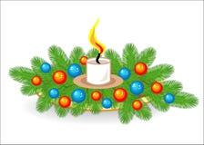 圣诞树分支的构成 新年的传统标志   用明亮的玩具装饰, 库存例证