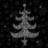圣诞树剪影。 免版税库存图片
