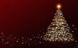 圣诞树卡片-与您自己的文本的地方 库存图片