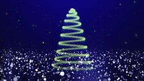 圣诞树发光的蓝色微粒 库存例证