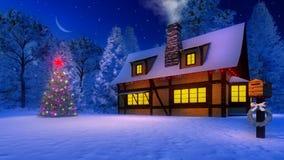 圣诞树和土气房子在月光晚上 库存照片