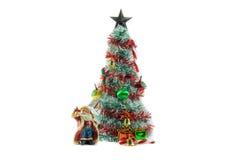 圣诞树和圣诞老人在白色背景塑造 库存照片