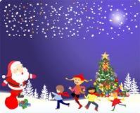 圣诞树和圣诞老人的圣诞节装饰, 免版税库存图片