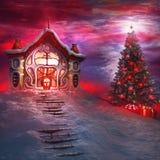圣诞树和圣诞老人的房子 免版税库存照片