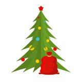 圣诞树和圣诞老人袋子 新年度符号 红色大袋和毛皮 库存图片