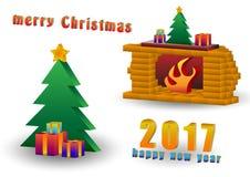 圣诞树和壁炉 免版税库存照片