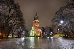 圣诞树和大教堂正方形在图尔库 图库摄影