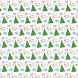 圣诞树和存在向量模式 免版税库存图片
