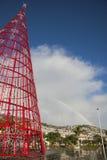 圣诞树和彩虹,丰沙尔,马德拉岛 免版税库存照片
