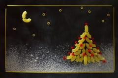 圣诞树和意大利面团夜满天星斗的天空  库存图片