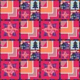 圣诞树和房子无缝的样式背景补缀品 免版税库存照片