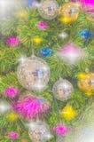 圣诞树和新年有金球ยentagram好漂亮的东西或人 免版税库存图片