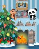 圣诞树和火地方传染媒介例证 免版税库存照片
