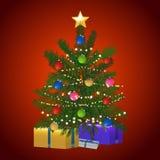 圣诞树和礼物在红色背景 图库摄影