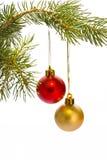 圣诞树和红色球 库存图片