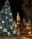 圣诞树和维也纳市政厅Rathaus高哥特式大厦  免版税库存照片