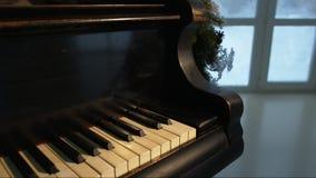 圣诞树和装饰与钢琴 股票视频