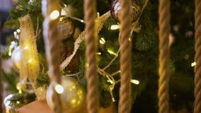 圣诞树和装饰在金子颜色 影视素材
