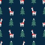 圣诞树和逗人喜爱的喇嘛有xmas帽子无缝的样式的在深蓝背景 库存例证
