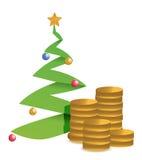 圣诞树和金黄硬币例证 免版税库存图片