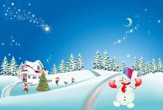 圣诞树和雪人的圣诞节装饰, 免版税库存照片