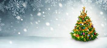 圣诞树和雪背景 库存图片