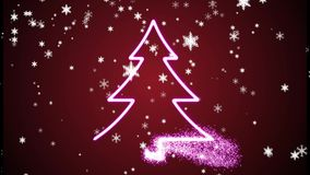 圣诞树和雪花闪耀的动画 影视素材