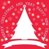 圣诞树和雪花 图库摄影