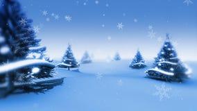 圣诞树和雪(动画圈) 向量例证