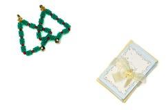 圣诞树和贺卡 免版税库存图片