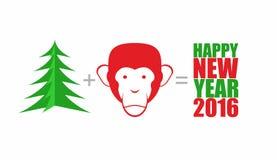 圣诞树和猴子 数学公式:树加上头 免版税库存照片