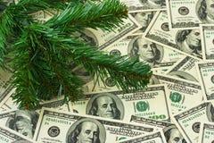 圣诞树和货币 免版税库存照片