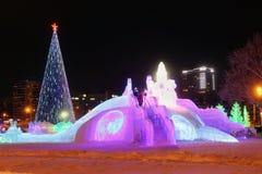 圣诞树和幻灯片 库存照片