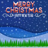 圣诞树在一个冬天环境美化与雪 免版税库存图片