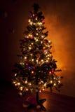 圣诞树在一个暗室 库存照片