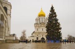 圣诞树在克里姆林宫 天使大教堂 免版税库存照片
