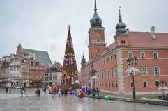 圣诞树在华沙的中心 华沙的城堡正方形 库存照片