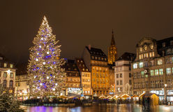 圣诞树在史特拉斯堡 免版税库存照片